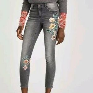 Zara Painted Floral Jeans